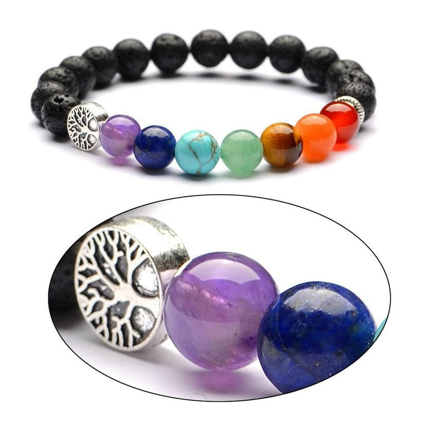 8Mm Lava Stone Tree Of Life 7 Chakra Healing Balance Beads Essential Oil Diffuser Bracelet Jewelry