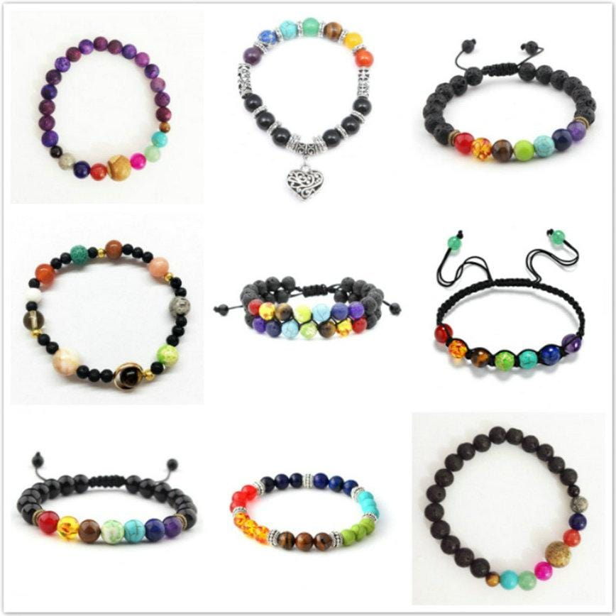 7 Chakra Bracelet Men Black Lava Healing Balance Beads Natural Stone Yoga Bracelet for Women