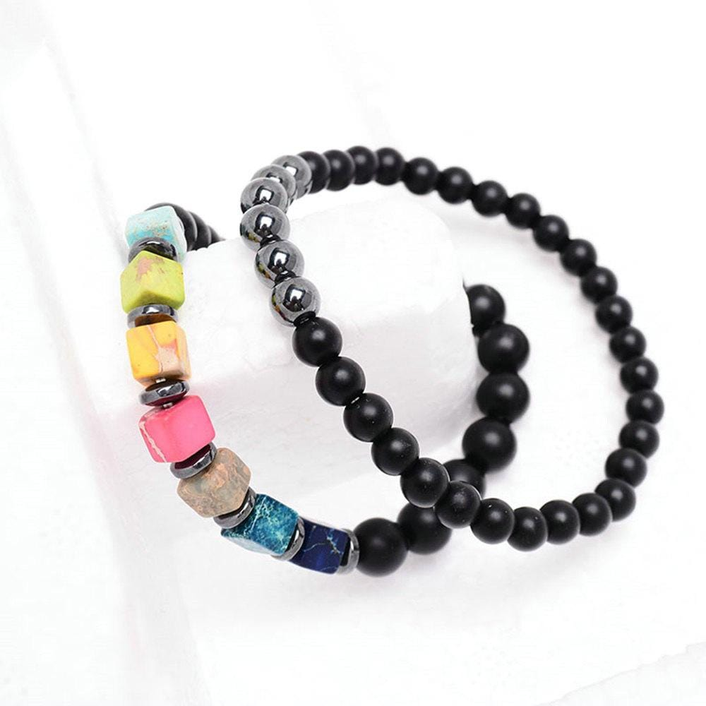 2 Pcs Natural Stone Couple Bracelet Set Vintage 7 Chakra Beaded Strand Bangle Yoga Buddha Gift