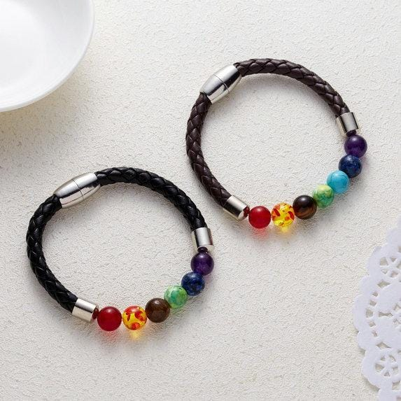 Vintage Beads Bracelet Seven Chakra Natural Stone Leather Women Woven Bracelet Bangles