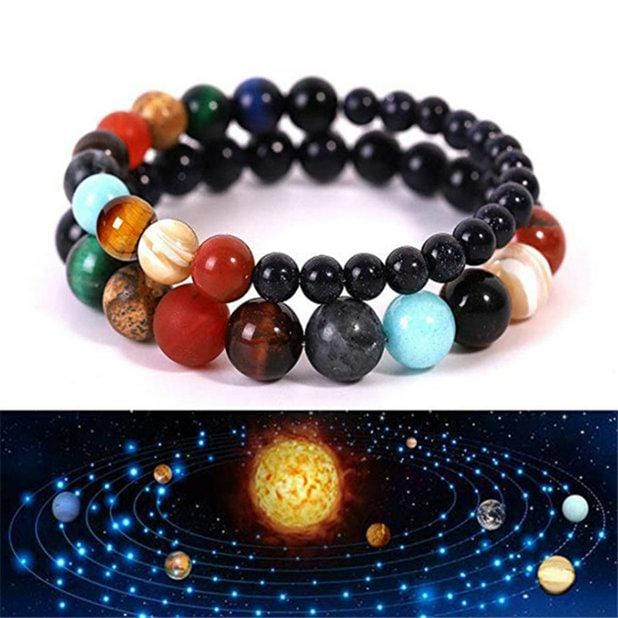 Eight Planets Natural Stone Bracelet Universe Yoga Chakra Galaxy Solar System Bracelets for Men Women