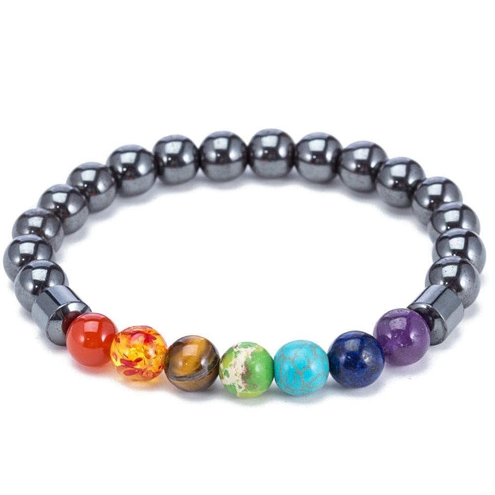 Natural Stones Beads Chakra Bracelets for Men Women Vintage Black Magnetic Therapy Bracelets