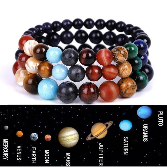 Eight Planets Bead Bracelet Men Natural Stone Universe Yoga Chakra Solar Bracelet for Men Women