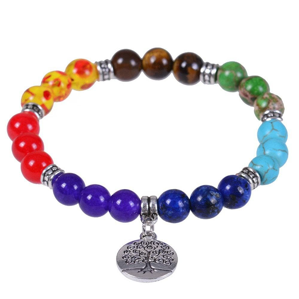 7 Chakra Tree Of Life Healing Crystal Stone Bracelets Purpel Crystal Tiger Eyes Yoga Bracelets for Women