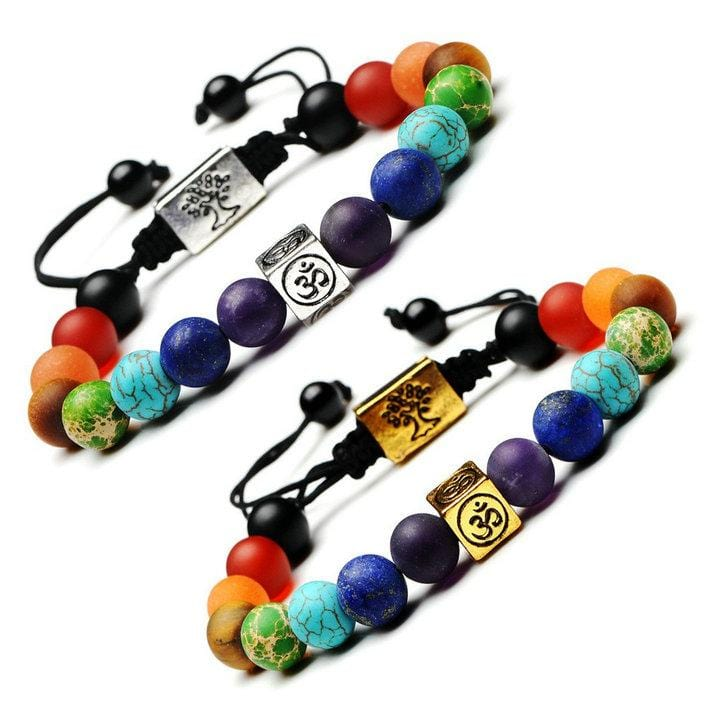 7 Chakra Tree Of Life Charm Bracelets Multicolor Beads Rope Bracelet Women Men Yoga Bracelets