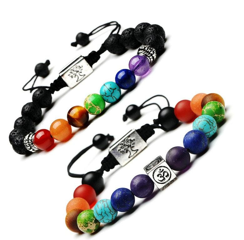 7 Chakra Tree Of Life Om Charm Bracelet Multi-Color Stone Beads Rope Buddhism Bracelet Women Men