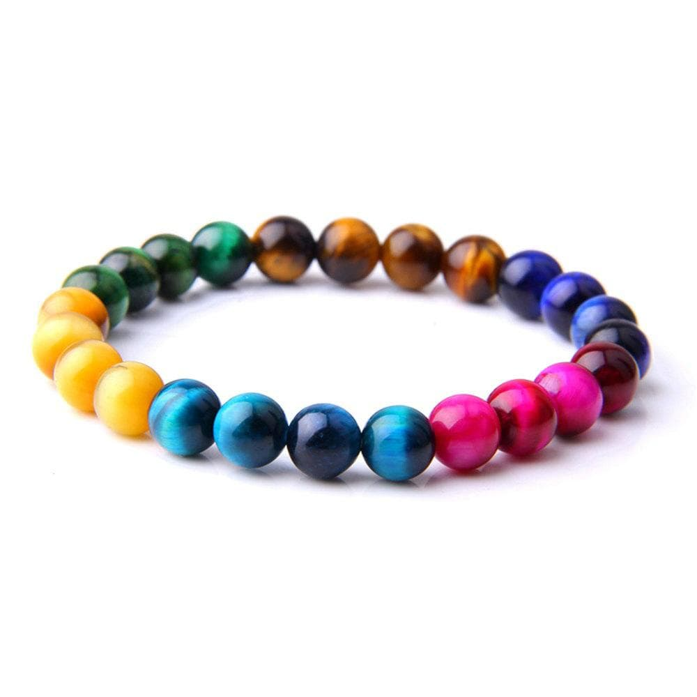 Multicolor Tiger Eye Beads Bracelets Natural Stone Round Beads Elasticity Bracelets for Women Men Jewelry