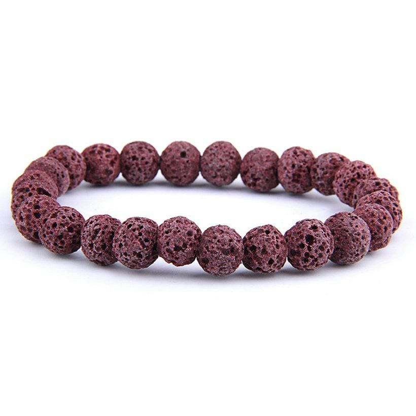 Natural Volcanic Lava Stone Essential Oil Diffuser Bracelets Men Healing Yoga Strand Bracelet for Women