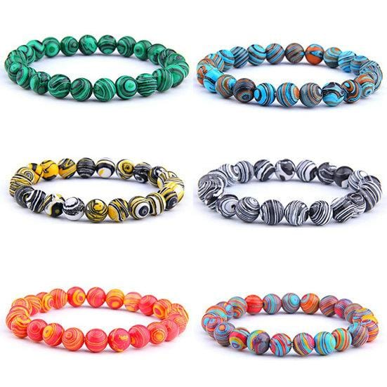 Natural Stone Malachite Beaded Bracelet Chakra Prayer Mala Strand Bracelets for Women Men Fashion Jewelry