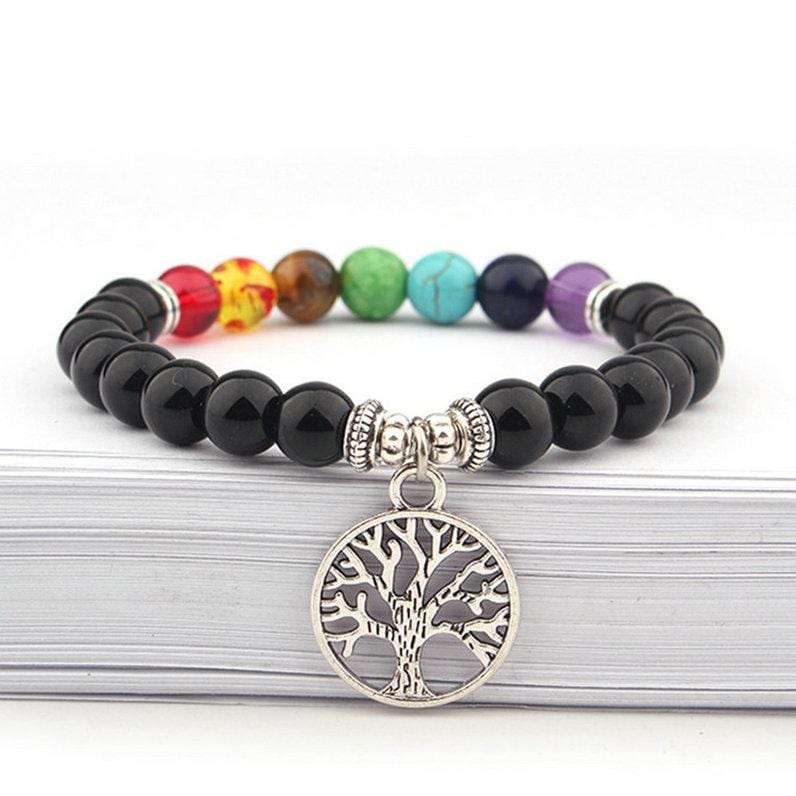 Life Tree Colorful Beaded Crystal Stone Charm Bracelet for Women Men Natural Healing Bracelet 7 Chakra