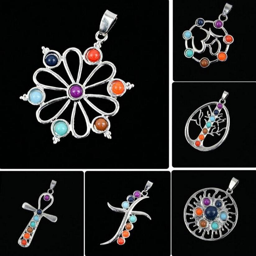 Vintage 7 Chakra Healing Point Hexagon Stone Pendant for Necklace Reiki Beads Men Women