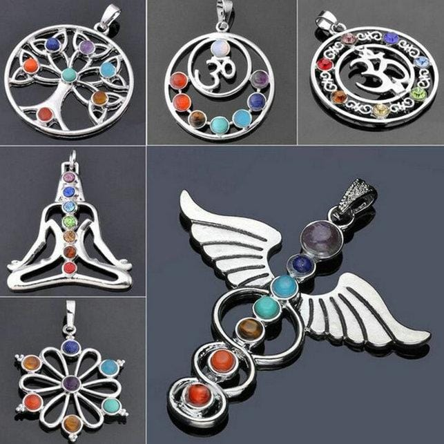 7 Chakra Stones Chakra Reiki Point Tree Of Life Pendant Charm Pendant Ankh Yoga Charm 3D Stone Necklace