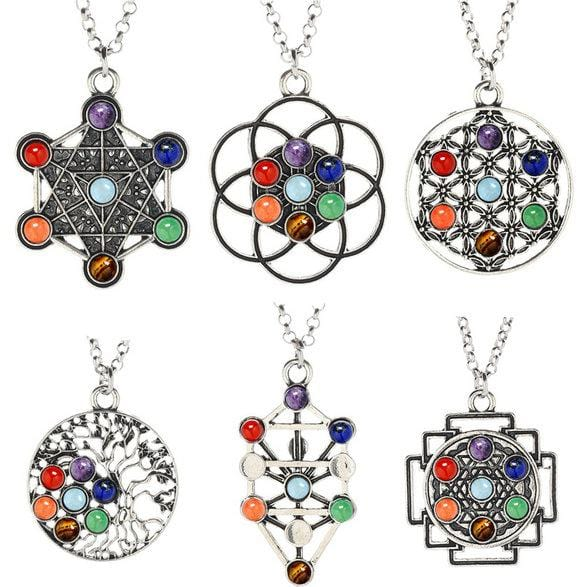 7 Crystal Beads Chakra Natural Stone Pendant Yoga Crystal Necklace Healing Point Pendant Women Gifts
