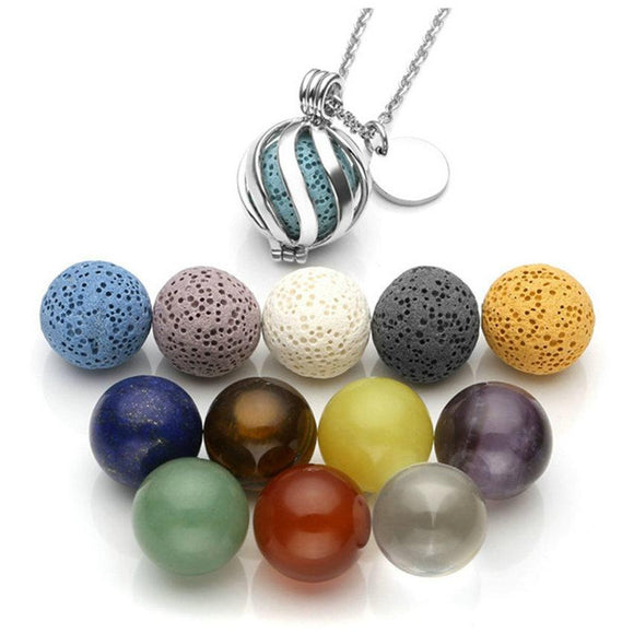 Lava Rock Stone/7 Chakra Ball Essential Oil Diffuser Necklace Tone Aromatherapy Openable Locket Pendant