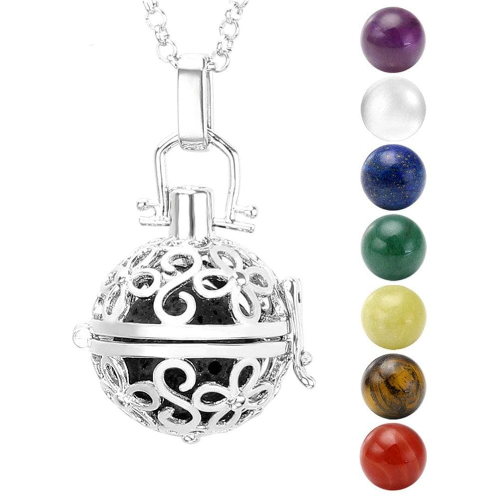28-31.5 Inchs White Gold Rose Gold 7 Chakra Reiki Healing Ball Beads Locket Pendant Chain Necklace Set