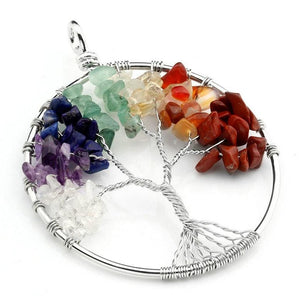 Tree Of Life Pendant With Quartz Crystal Chakra Necklace 27.5Inch Gem Stone Mothers Day Gifts