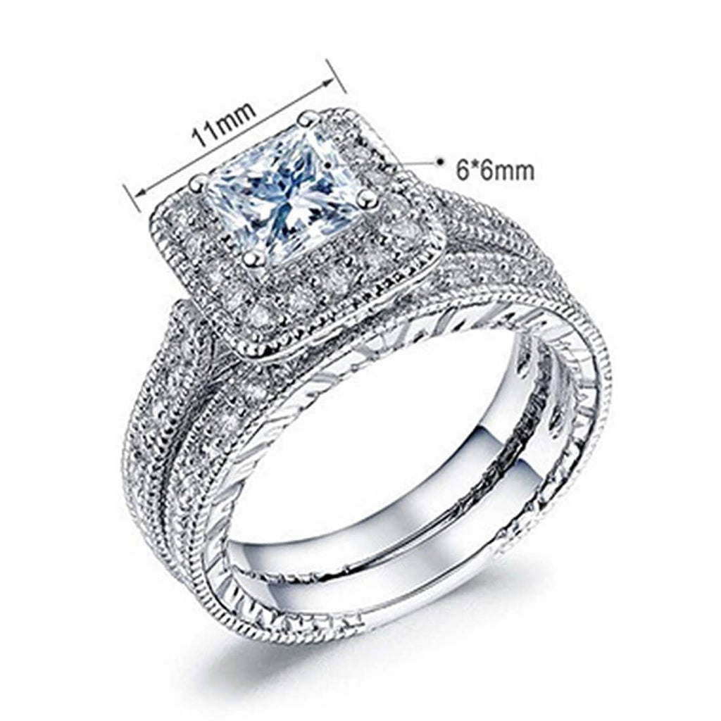 Men Women Engagement Rings Diamond Cz Tungsten Steel Wedding Gift Silver