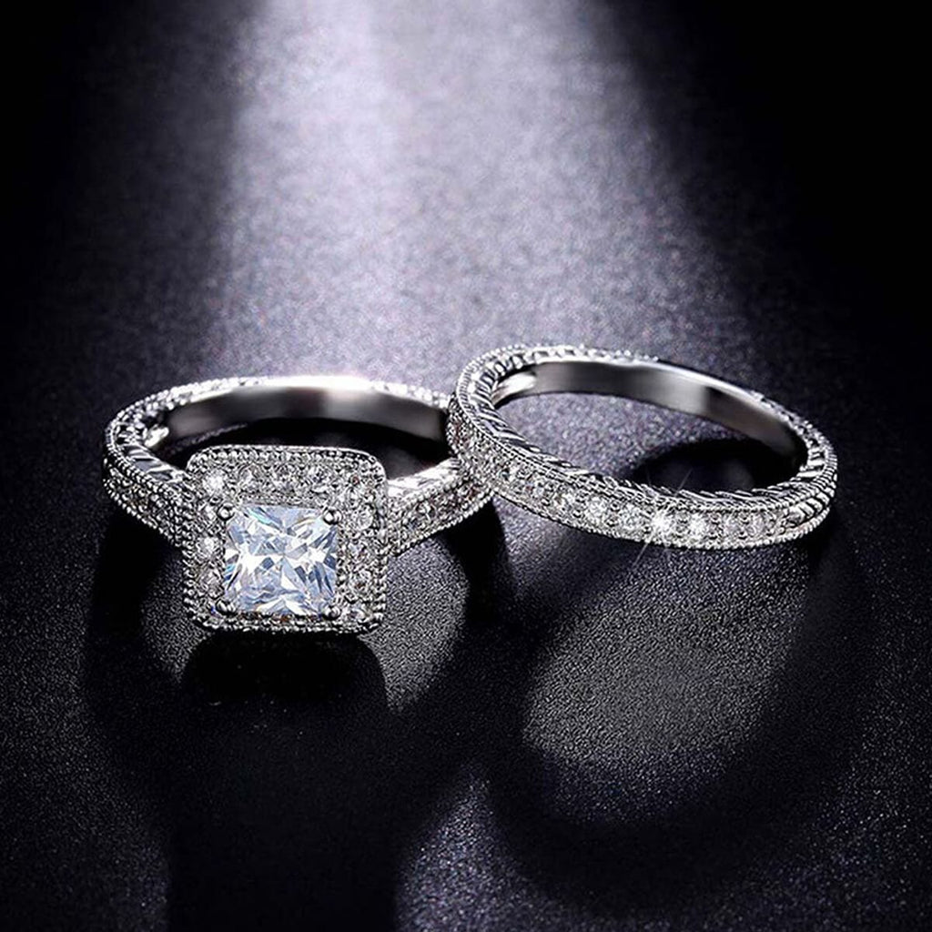 Promise Rings Stainless Steel Men Women Wedding Bands Set Silver Crystal