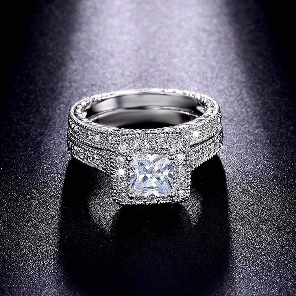 Promise Rings Women Wedding Bands Set Silver Crystal,Men Ring in Free