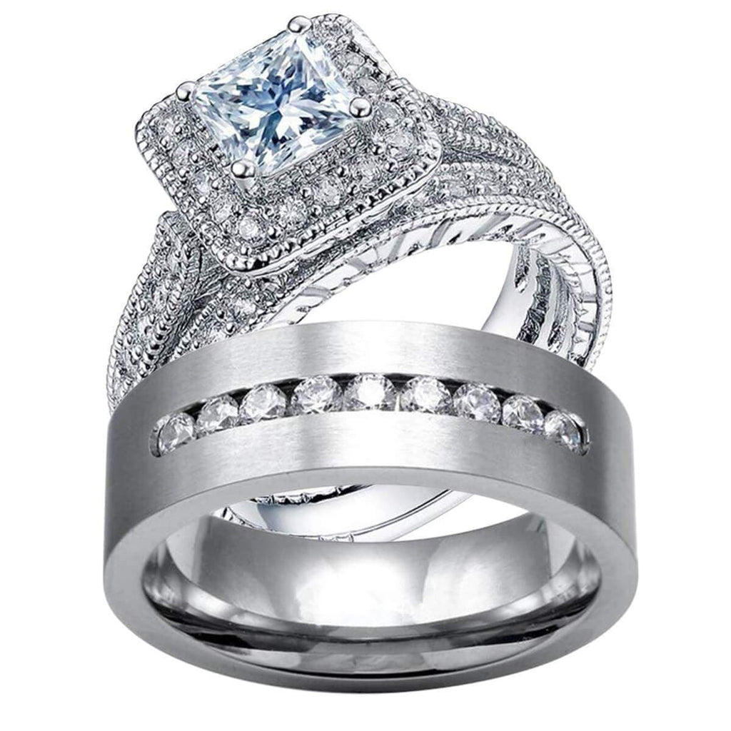 Engagement Rings for Women Sterling Silver Crystal Bands Set,Men Ring in Free