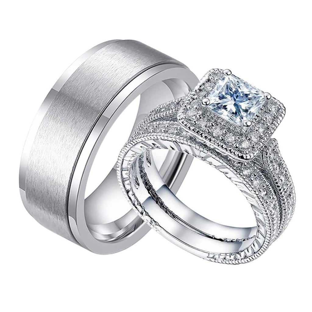 Silver Engagement Rings Men Women Stainless Steel Wedding Ring Set Crystal