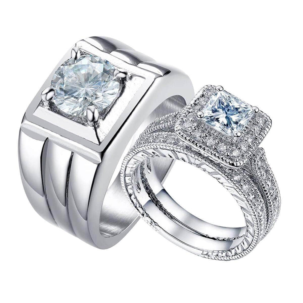 Women Engagement Rings Sets for Brides Bridegroom Wedding Band,Men Ring in Free