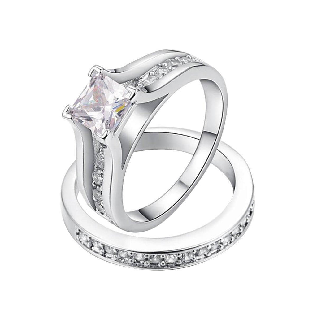 Anniversary Rings for Her Wedding Promise Channel Crystal Stones,Men Ring in Free