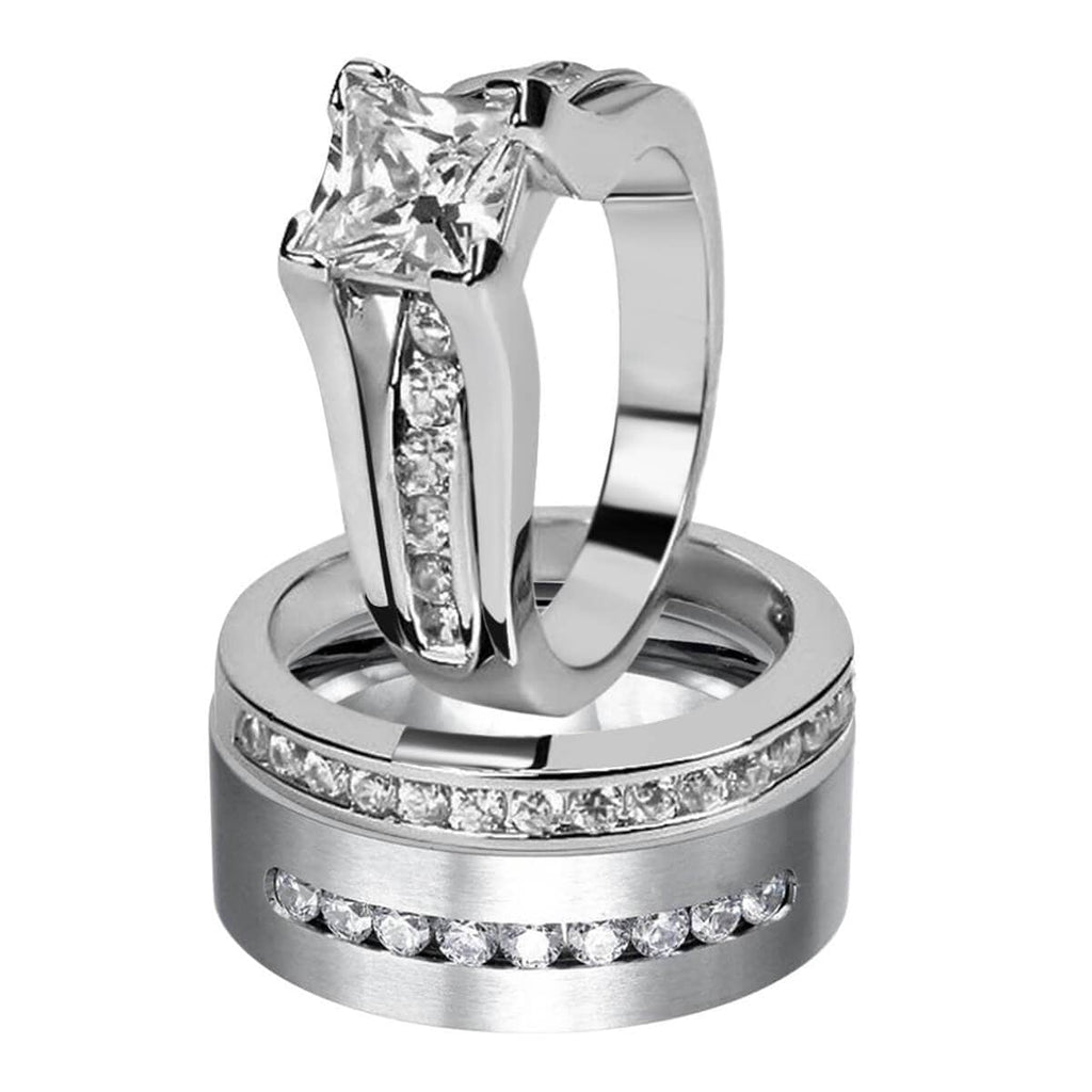 Stainless Steel Wedding Rings Silver Couple Rings Set For Men and Women Crystal