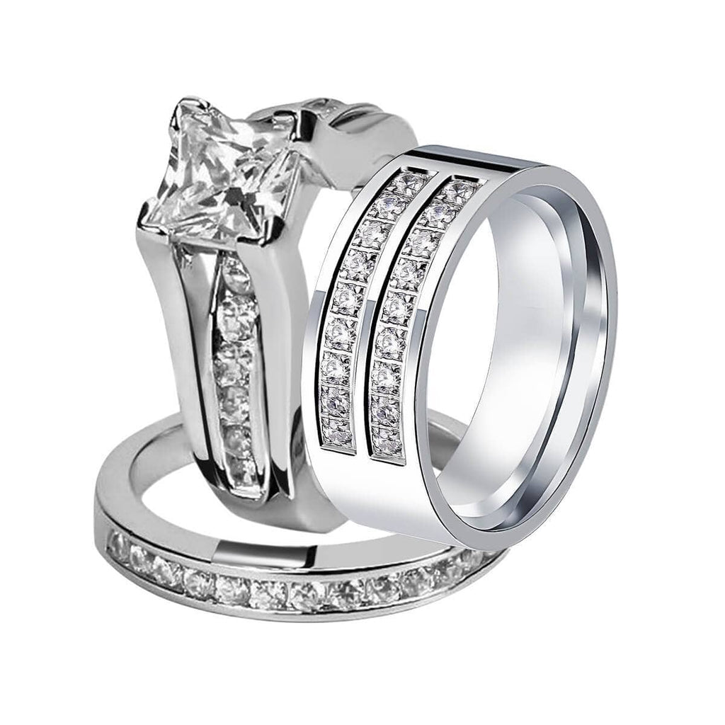 Wedding Rings Sets Stainless Steel Engagement Bands For Men Women Crystal Channel Setting