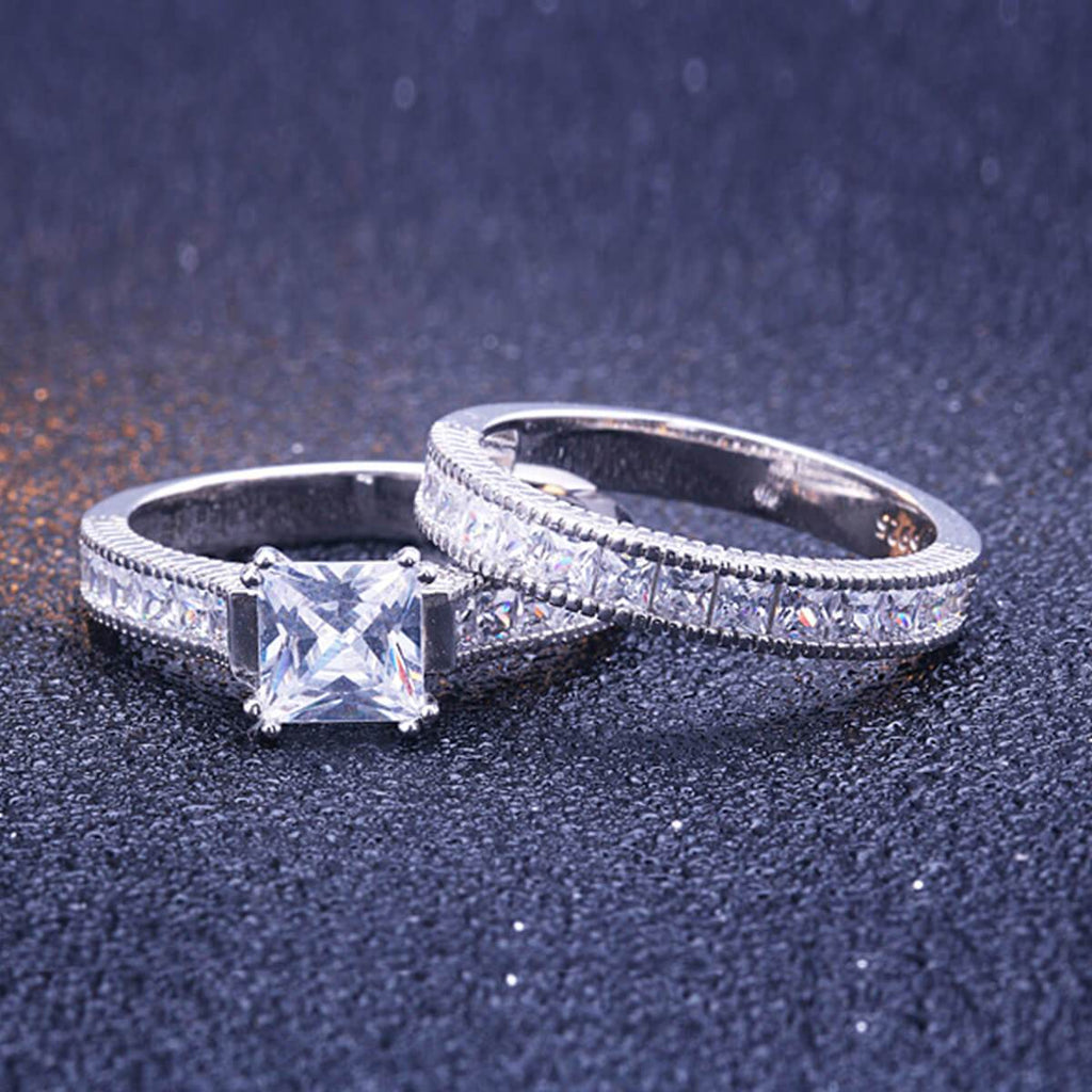 Promise Rings His and Hers Stainless Steel & Sterling Silver Ring Sets