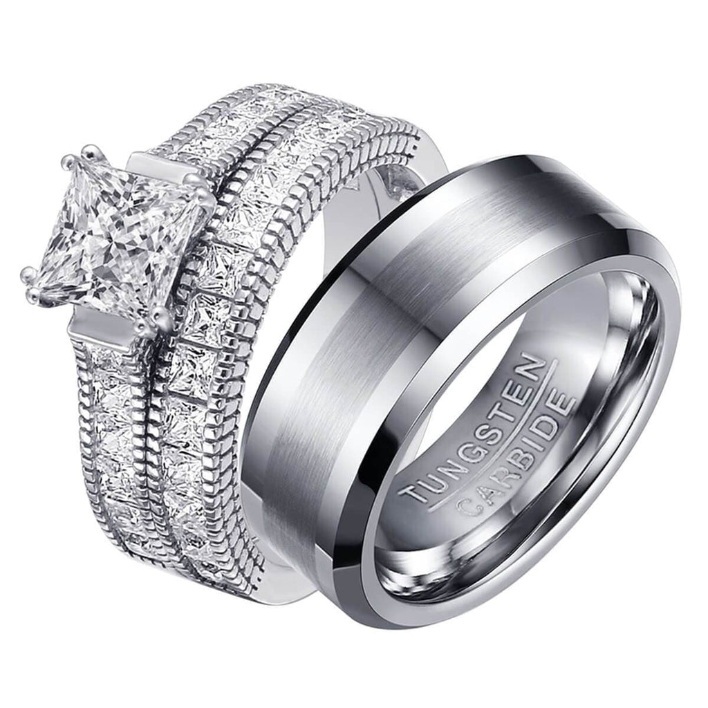 Wedding Bands Tungsten Steel Men Rings Sterling Silver Women Rings Crystal