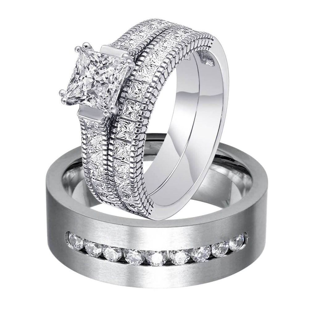 Wedding Rings Titanium Steel Silver Rings Set For Man and Woman