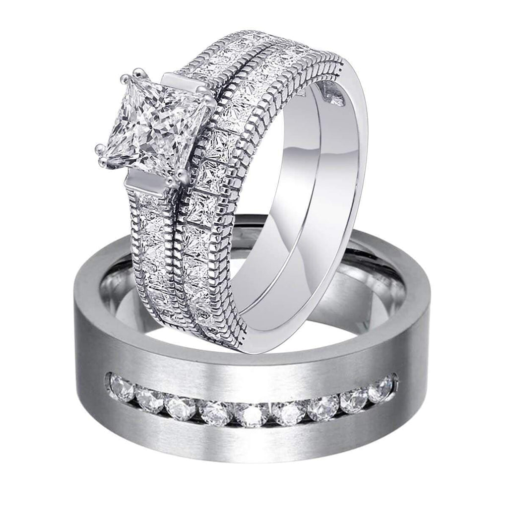 Wedding Rings 925 Silver Rings Sets for Woman Bridal Ideas,Men Ring in Free