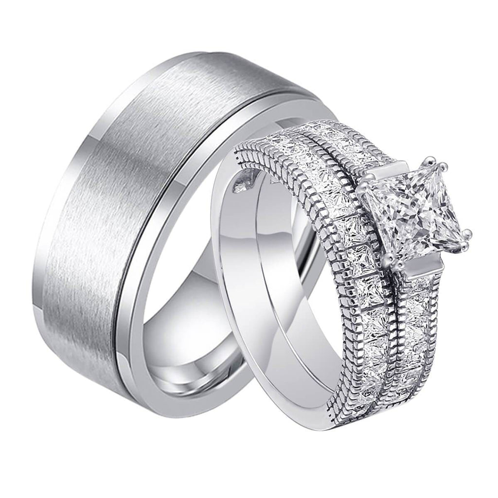 Couple Rings For Engagement Stainless Steel Wedding Bands Pricess Cut Crystal