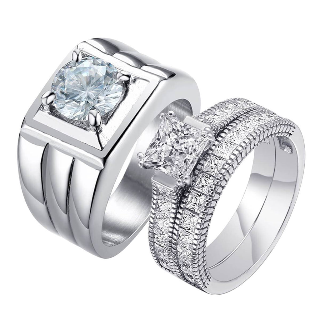 Couple Rings Set Stainless Steel Women Men Anniversary Rings With Stones