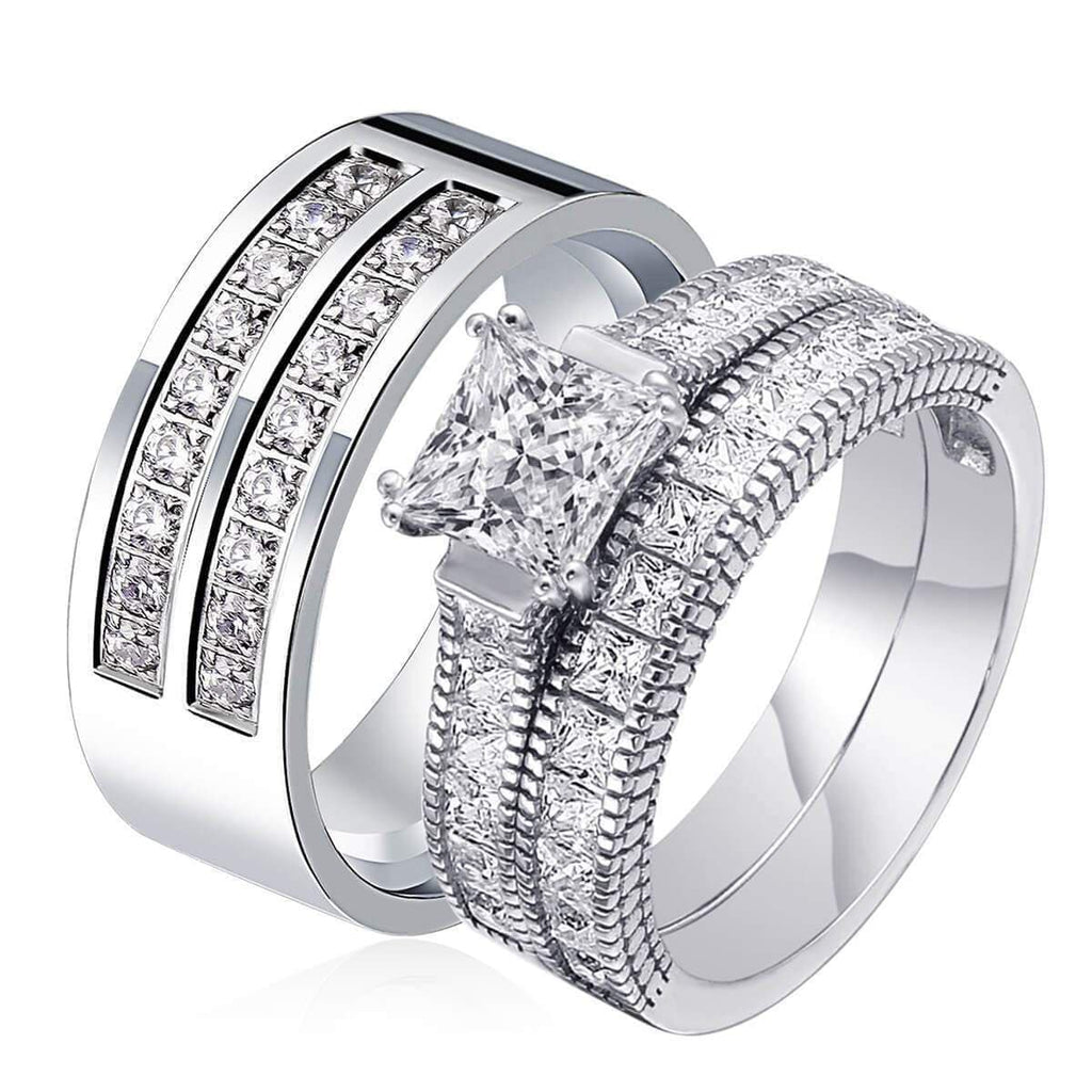 Promise Rings for Her 20th Anniversary 925 Sterling Silver Ring Sets,Men Ring in Free