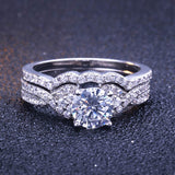 Wedding Ring Set Man and Woman 925 Sterling Silver Engagament Promise