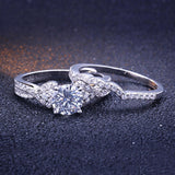 Women Wedding Bands Silver Promise Rings Infinity Crystal,Men Ring in Free