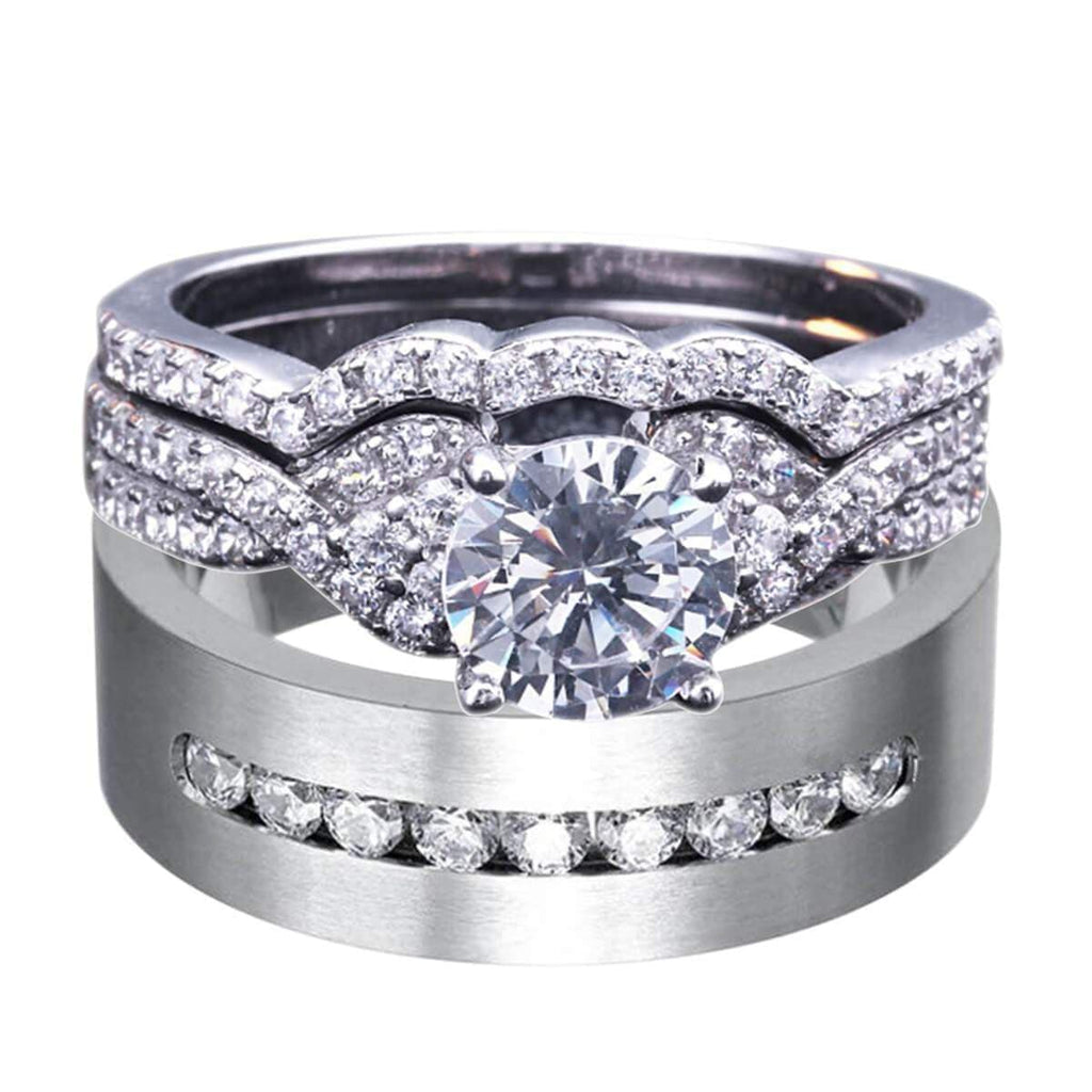 925 Sterling Silver Rings Wedding Ring Sets Brides Gifts,Men Ring in Free