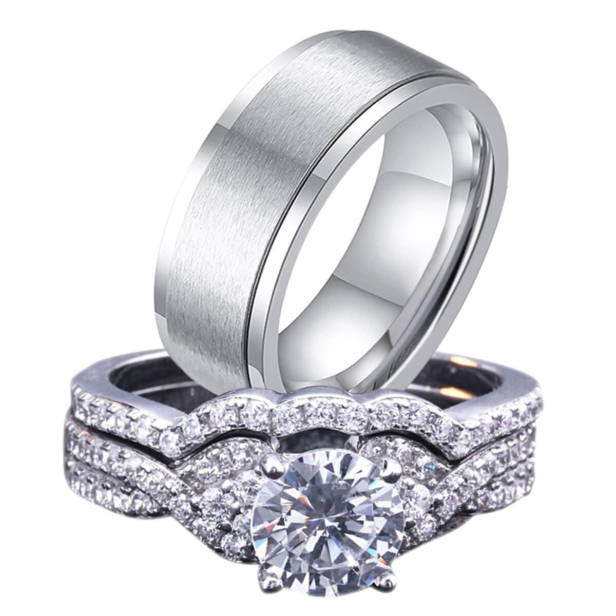 Stainless Steel Rings Men Women Wedding Engagament Rings Sets Crystal