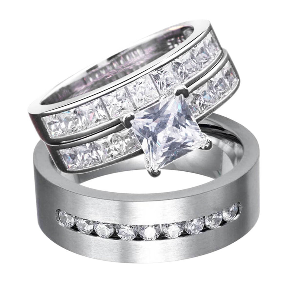 Sterling Silver Rings For Women Men Stainless Steel Wedding Band Crystal Pricess Cut