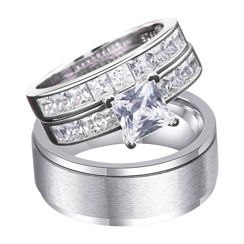 Silver Wedding Rings Sets For Him and Her Stainless Steel Birthstones