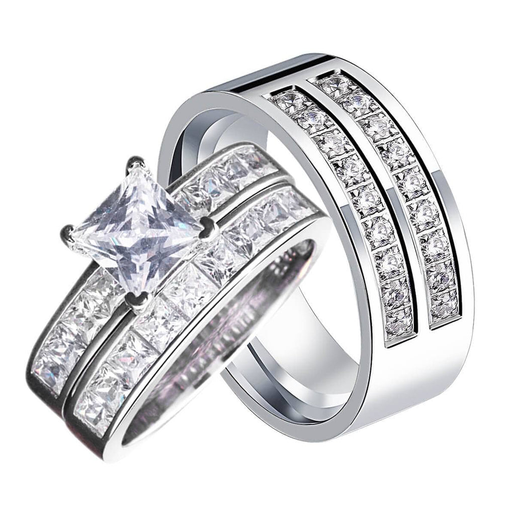 Couples Engagement Rings Silver Stainless Steel Channel Crystal Setting