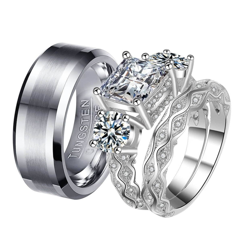 Engagement Rings White Gold Tungsten Steel Rings Princess Promise Gifts