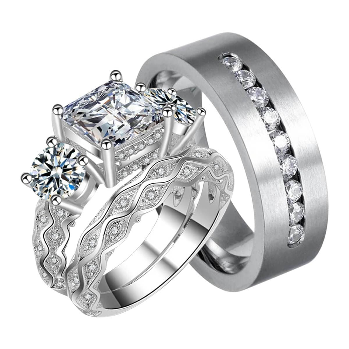Wedding Rings Matching Set For Men Women Stainless Steel Plated Silver AAA Crystal
