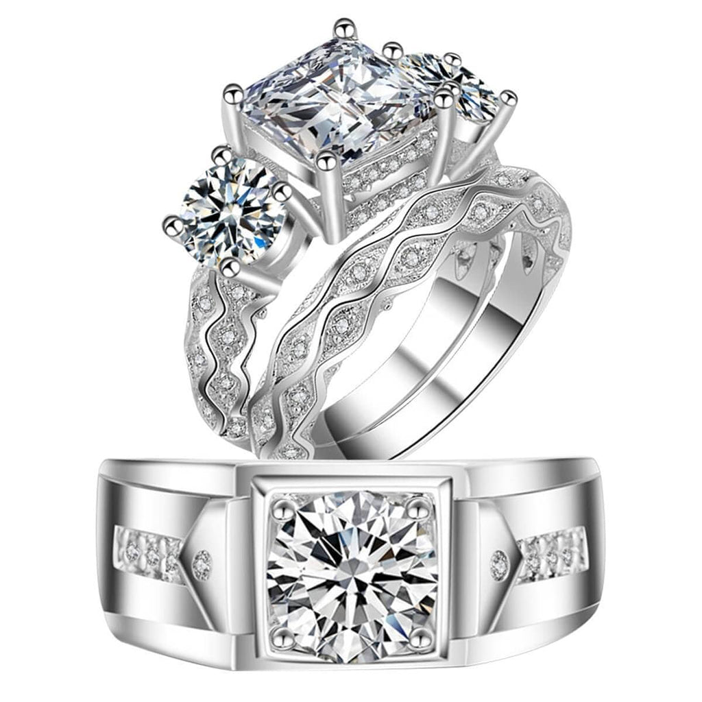 Couple Rings Silver 925 Engagement Rings For Women Men Crystal Princess Cut