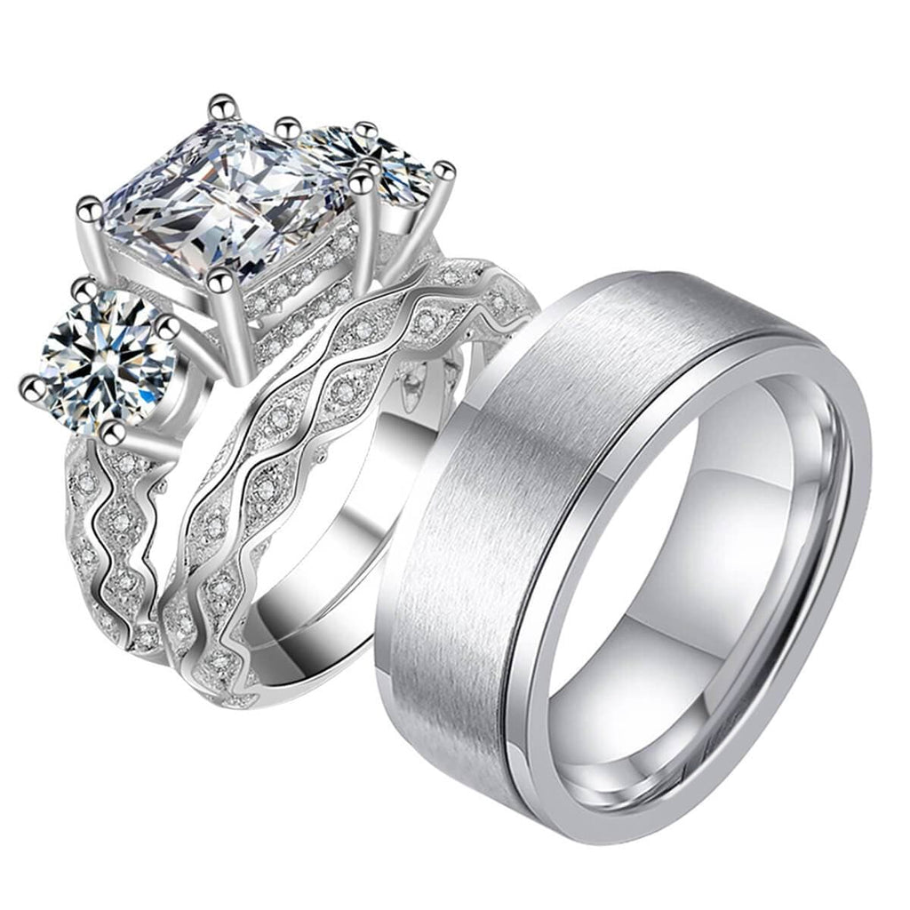 Men Women Promise Rings Couples Stainless Steel Silver Bands Valentine's Day Gift