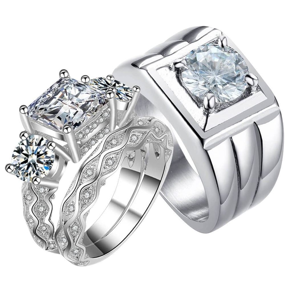 Promise Rings Matching Set For Him and Her Stainless Steel Wedding Bands Silver Crytal
