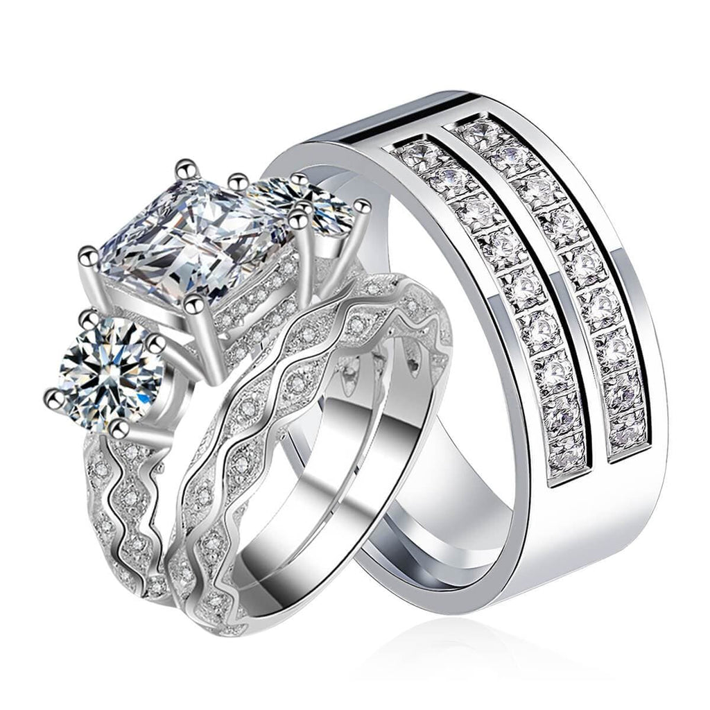 Wedding Ring Set Bride and Groom Stainless Steel Anniversary Rings Gift