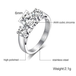 Engagement Rings For Her and Him Wedding Party Gifts Silver Zircon Stones